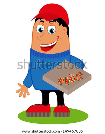 Pizza delivery with the box pizza, vector  - stock vector