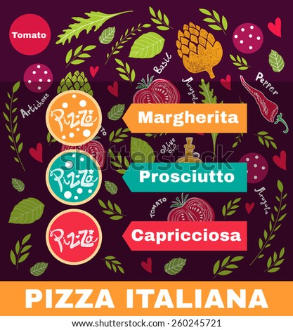 Pizza design menu or poster with different elements - stock vector