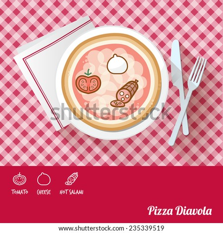Pizza diavola on a dish with icon ingredients and recipe name at bottom