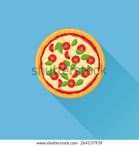 Pizza Flat Vector Illustration. Flat design illustration of italian Pizza with cheese tomatoes and basil leaves