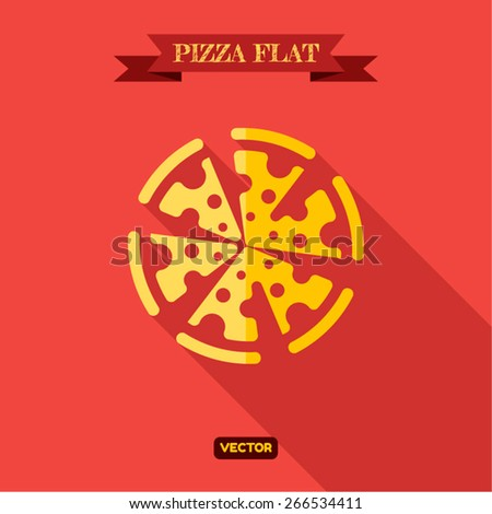 Pizza Food Flat Icon vector illustration - stock vector