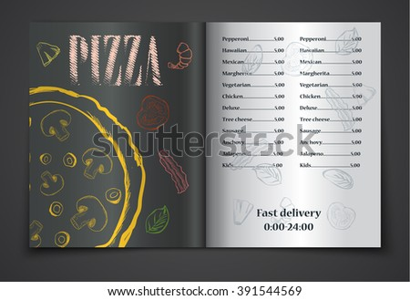 pizza food menu cafe brochure. vector template