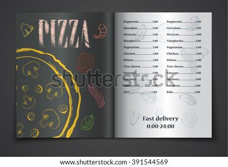 pizza food menu cafe brochure. vector template - stock vector