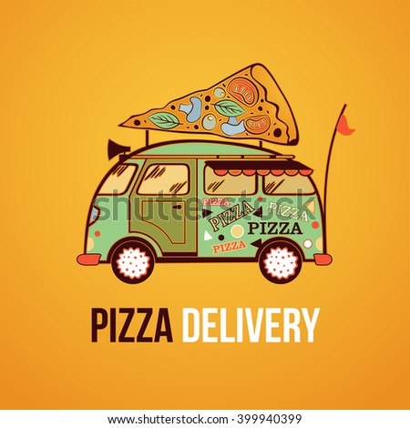 Pizza food truck city car. Food delivery car. Vector illustration - stock vector