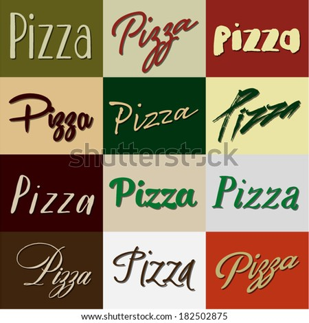 Pizza Heading Selection Set - stock vector