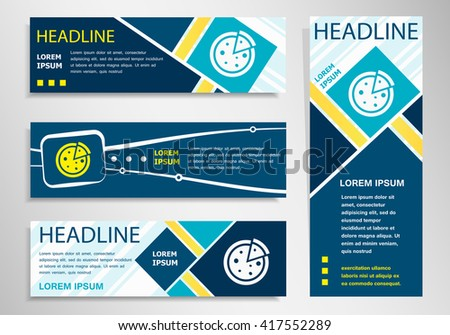 Pizza icon on horizontal and vertical banner. Pizza symbol abstract banner, flyer design template. - stock vector