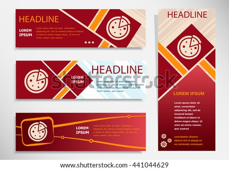Pizza icon on vector website headers, business success concept. Modern abstract flyer, banner. - stock vector