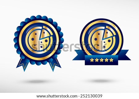 Pizza icon stylish quality guarantee badges. Blue colorful promotional labels - stock vector