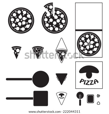 Pizza icons set - stock vector