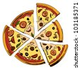 Pizza in six pieces. Hand drawing sketch vector illustration - stock vector