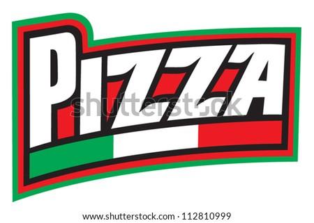 pizza label design (pizzeria label) - stock vector
