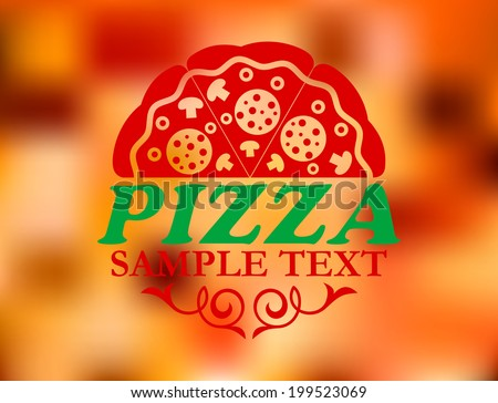 Pizza label on red colorful background for pizzeria or cafe design - stock vector