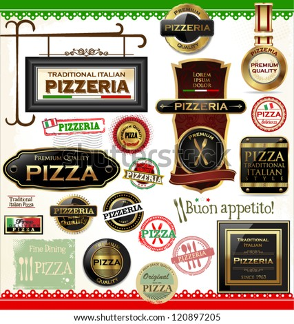 Pizza labels - stock vector
