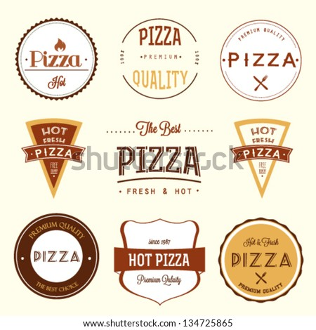pizza labels set