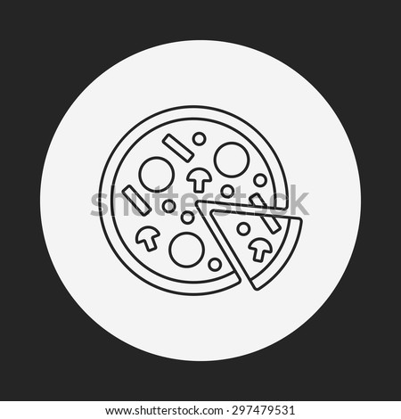 pizza line icon - stock vector