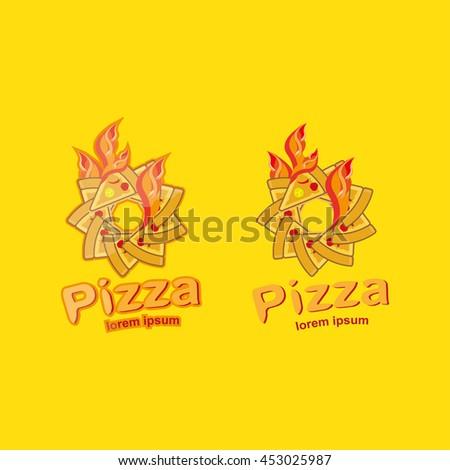 Pizza Logo Symbols Fast Food Restaurant Illustration Stock Vector
