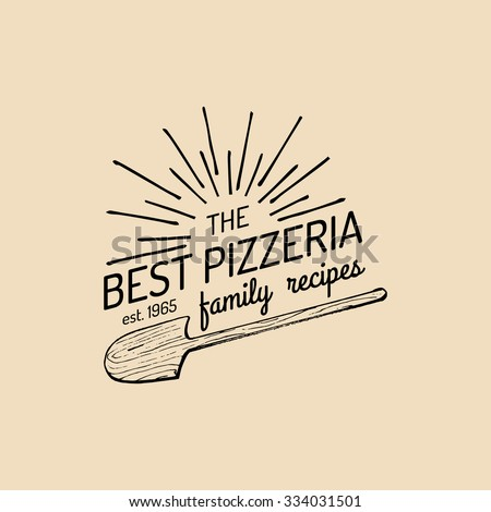 Pizza logo. Vector modern pizzeria emblem, icon. Vector vintage hipster italian food label.  - stock vector