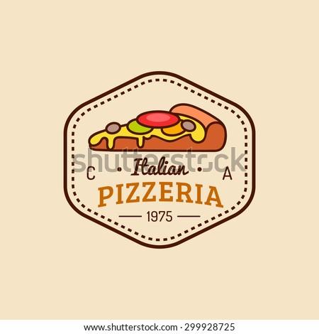 Pizza logo. Vector modern pizzeria emblem, icon. Vintage hipster italian food label. - stock vector