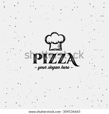 Pizza logo with cap chef. Design template. - stock vector