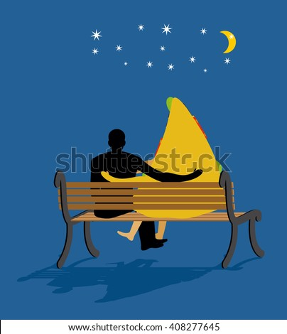 Pizza looked at stars. Date night. Man and piece of pizza sit on bench. Moon and stars in night dark sky. Romantic meal illustration life gourmet - stock vector