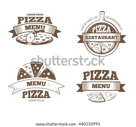 Pizza menu restaurant vector labels, logos, badges, emblems set. Logo for italian pizzeria, restaurant emblem with pizza illustration - stock vector