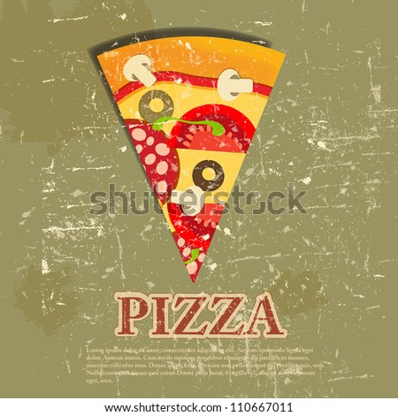Pizza Menu Template in vintage retro grunge style vector illustration