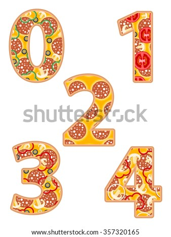Pizza number 0 to 4 on a white background. - stock vector