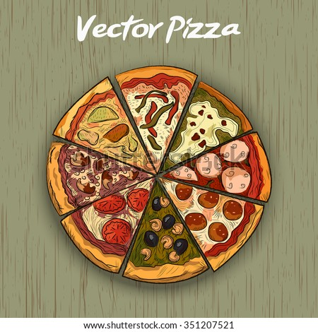 Pizza on a wooden background. hand drawn illustration. Vector - stock vector