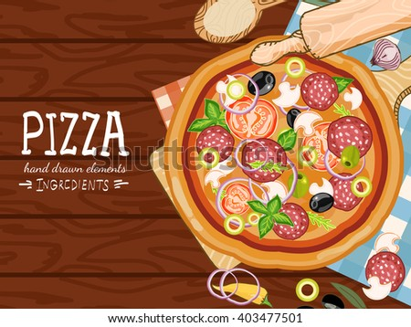Pizza on a wooden table, making pizza, fresh ingredients for pizza hand drawn vector illustration - stock vector