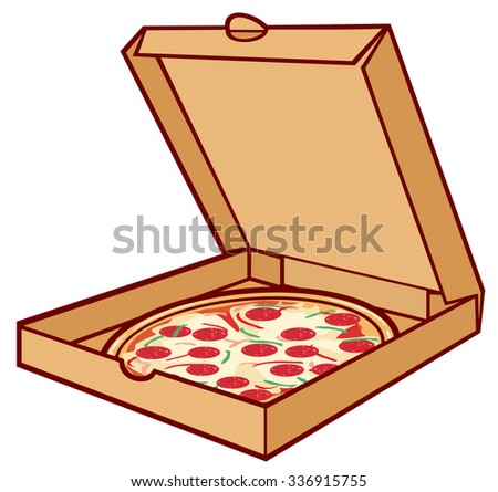 pizza on cardboard (pizza in box, open packing box for pizza) - stock vector