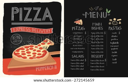 Pizza on the board. Menu design for pasta, pizza and dessert. - stock vector