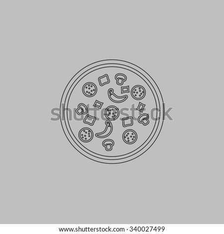 Pizza. Outlne vector icon on grey background