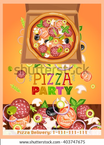 Pizza party template fresh ingredients for pizza - stock vector