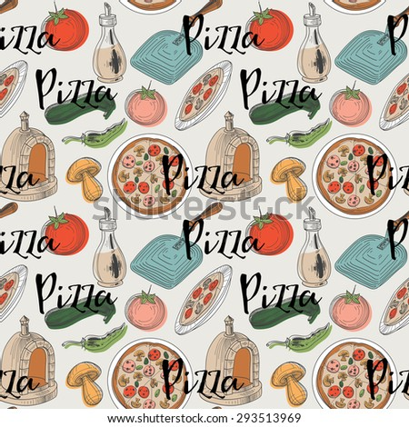 Pizza pattern - stock vector