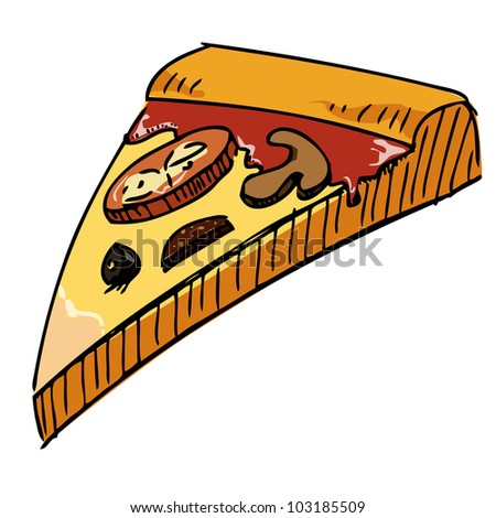 Pizza piece icon. Hand drawing sketch vector illustration - stock vector