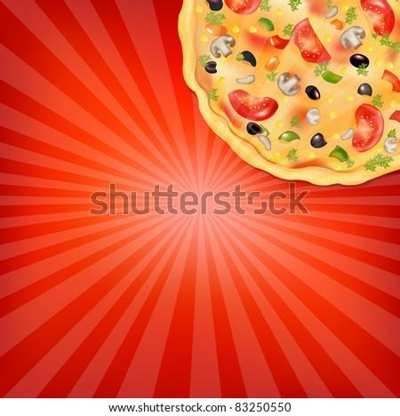 Pizza Poster, Vector Illustration - stock vector