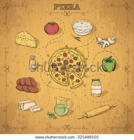 Pizza recipe. Hand drawing. Vector illustration. - stock vector