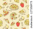 Pizza seamless background vector - stock vector