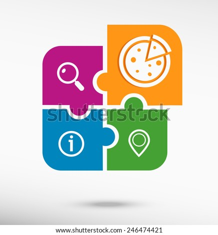 Pizza sign icon on colorful jigsaw puzzle  - stock vector