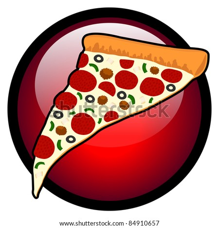 Pizza Slice Symbol with Red Glass Circle - Retro Style Vector Illustration. (high resolution JPEG also available). - stock vector