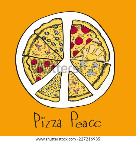 Pizza slices with pacific sign. Vector illustration - stock vector