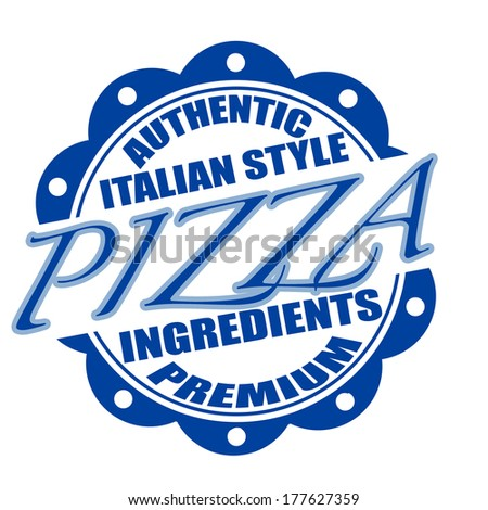 pizza stamp whit on vector illustration