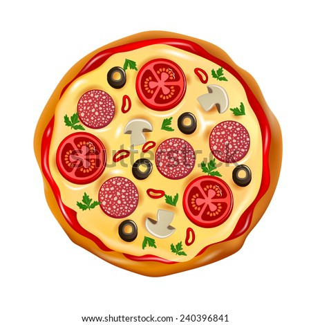 pizza top view - stock vector