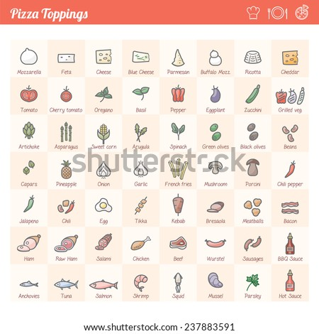 Pizza traditional toppings variety icons set for different recipes  - stock vector