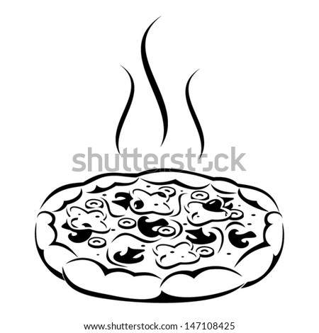 Pizza. Vector black silhouette. - stock vector