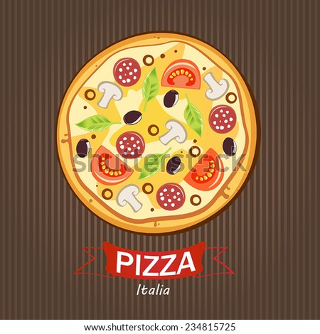 Pizza. Vector illustration. - stock vector