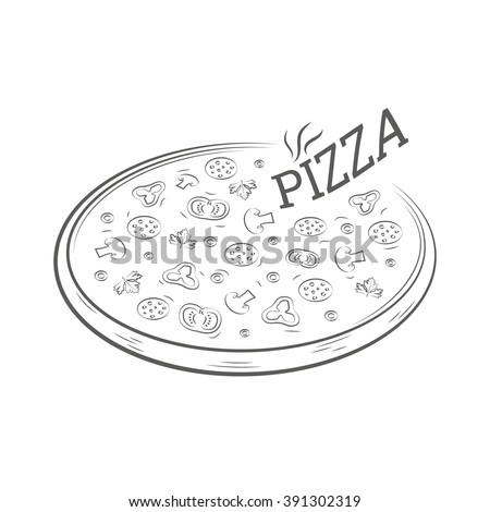 Pizza vintage illustration isolated on white background. Pizza vector drawing.