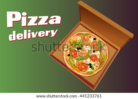Pizza with mushroom and tomato, basil and olives, in box on green background isolated. For delivery service or pizzeria. Vector illustration. - stock vector