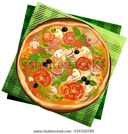 Pizza with mushroom and tomato, chilli, herbs on board on napkin on white background isolated. Illustration for menu or pizzeria interior design. Vector illustration stock. - stock vector