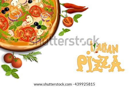 Pizza with mushroom and tomato, chilli, herbs on board on white background isolated. corner design for menu or pizzeria interior design. Vector stock illustration. - stock vector